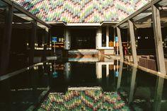 hu'u bistro pool #huubistro #outdoor #colorroof #reflection #water #bali #seminyak