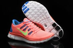 Nike Free 5.0 Orange Blue Lime Womens Running Shoes! Only $55.9USD