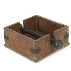 Features:  -Casual country collection.  -Cocktail napkin holder.  -Material: Wood and metal.  Product Type: -Napkin Holders.  Material: -Metal/Wood.  Color: -Brown/Black. Dimensions:  Overall Height -