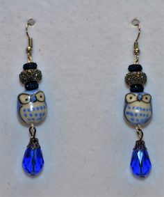 Sapphire Handmade Dangle  Blue Owl Beaded  Earring Set ~ One of A Kind ~ Steampunk ~ Holiday by DivinityBraid on Etsy