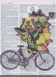 Bicycle BikeButterfliesCollageFantasy Antique by studioflowerpower