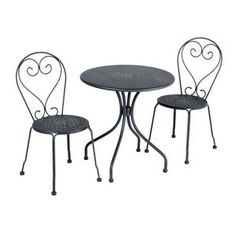 Find the perfect gift for her! Here's one:  The Del Terra Steel Bistro Setting Charcoal from Masters Home Improvement