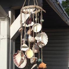 My new seashell wind chime- made with hemp string, a clamp and a bag of seashells I had sitting around. I love it!