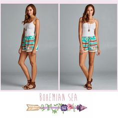 Aztec Printed Shorts with Lace Trim I just adore these Shorts!! A TOTAL MUST HAVE for Summer! Light weight material • 100% Polyester ✨ Available in sizes Small, Medium & Large! Bohemian Sea Shorts