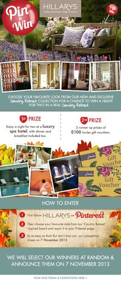 Pin to win competition to celebrate our new Country Retreat fabric range! Win a 1 night spa break for and two chances to win of Joules vouchers! Hillarys Blinds, Competition Giveaway, Win Competitions, Spa Breaks, Lavender Garden, Thing 1, Shabby Chic Interiors, What's Your Style, Hotel Spa