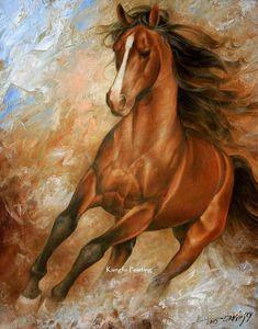 100% pintado a mano de alta calidad caballo pintura lienzo arte de la pared decoración del hogar regalo único