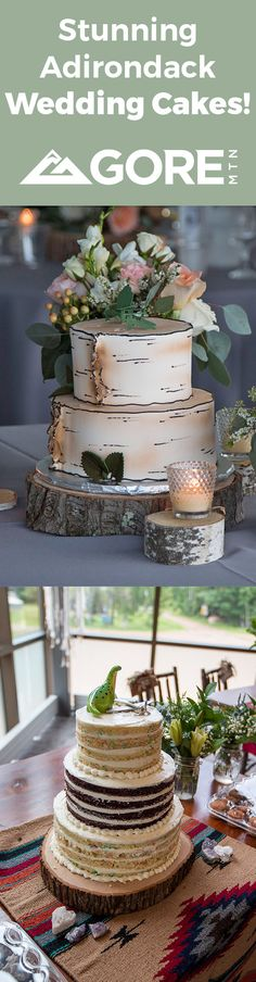 Treat your guests to something sweet. Adirondack Wedding Cakes with a Rustic Birch Bark & Semi-Naked Frosting, cute and romantic ADK Chairs Toppers, & Wood Slice Cake Stands. Decorate with flowers, wood, candles, gemstones, and a table runner to create an Authentic Adirondack theme. Wood Cake, Mountain Weddings, Birch Bark, Cake Stands, Wood Slices, Rehearsal Dinners, Table Runners, A Table, Special Events