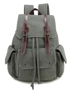 Canvas Backpack Canvas Vintage Backpack for Women and Men Olive Green ** Check this awesome product by going to the link at the image.
