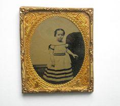 CIVIL WAR ERA AMBROTYPE SMALL GIRL TINTED CHEEKS PRETTY STRIPED DRESS