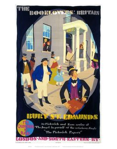 The Booklovers' Britain - Bury St Edmunds by National Railway Museum The Pickwick Papers, National Railway Museum, Bury St Edmunds, Railway Posters, Vintage Travel Posters, Poster Size Prints, Print Poster, Book Lovers, Giclee Print