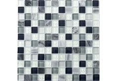 Carrara Stone & Glass Mix Mosaic is a beautiful mix of blue and green glass tiles combine with polished carrara marble to give a clean and stylish look that would add colour and design to any kitchen or Bathroom.