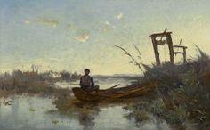Paul Joseph Constantin 'Constan(t)' Gabriel (Amsterdam 1828-1903 Scheveningen) Visser in Hollands veenlandschap - Kunsthandel Simonis en Buunk, Ede (Nederland).
