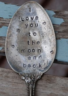 I love you to the moon and back Hand Stamped by VintageGardenArt, $10.00