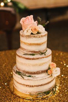 Rustic glam wedding cake idea - naked wedding cake with pastel flowers + greenery {Suzy Goodrick Photography}