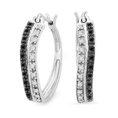 Platinum Plated Sterling Silver Black and White Round Diamond Hoop Earring (1/5 cttw) D-GOLD. $89.00. Save 59% Off!