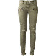 Balmain Washed Khaki Biker Jeans (£330) ❤ liked on Polyvore featuring jeans, pants, bottoms, pantalon, trousers, metallic skinny jeans, khaki jeans, zipper pocket jeans, metallic jeans and zipper jeans