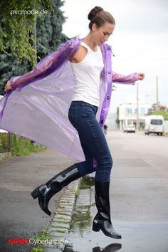Purple plastic raincoat high heel wellies rubber boots