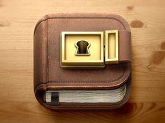 skeuomorphism icon, metal, book, key, 3D