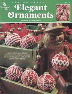 Christmas Ornament Crochet Patterns 12 Ball Covers in Thread Crochet