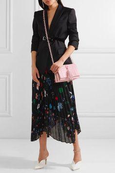 Nancy Gonzalez - Tassel-trimmed Crocodile Shoulder Bag - Pastel pink - one size