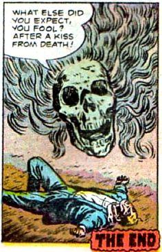 The kiss from death. What else did you expect, you fool? Vintage Pop Art, Retro Art, Art Pop, No Me Defraudes, Comic Books Art, Comic Art, Comic Book Panels, Spiritus, Horror Comics