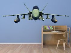 F-18 Hornet Military Jet Aviation Front View Airplane Wall Decal
