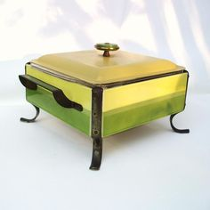 Vintage Chafing Dish Enamelware Warming Tray 1970s Kitchen Fire King Ware Avocado Green Harvest Gold