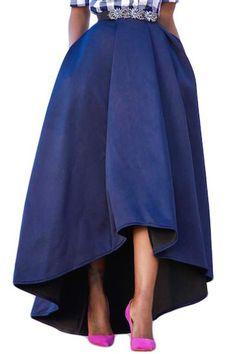 Cyerlia Women High Waist High-Low Hem A Line Skater Maxi Prom Skirt with Pockets Navy Maxi Skirts, Pleated Midi Skirt, High Waisted Skirt, Waist Skirt, Blue Maxi, Long Skirts For Women, England Fashion, Plus Size Skirts, Asymmetrical Skirt