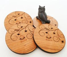 Floral Bird and Birdcage Wooden Coasters - Delicate Designed Coasters  - Home decor - By Owl & Otter