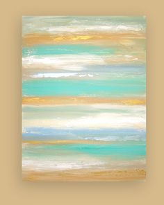 Beach Shabby Chic Original Aqua and Sand by OraBirenbaumArt, $365.00