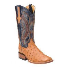 Ferrini Ladies Cognac/Navy Full Quill Ostrich Boots S-Toe 80193-02