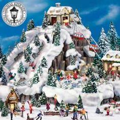 Wonderfully nostalgic Christmas villages by artist Thomas Kinkade. Christmas House Lights, Christmas Store, Miniature Christmas, Family Christmas, Christmas Decorations, Holiday Decor, Villas, Thomas Kinkade Christmas, Thomas Kincaid