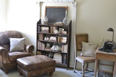 Faded Charm: ~Where Bloggers Create 2012~ really like the old leather, the unpainted wood bookshelf . . .