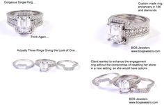 Halo wedding bands made to fit! You can give yourself the halo without the compromise of a permanent setting. These bands were special ordered and custom made to fit the engagement ring. Crafted in 18K White Gold and diamonds.