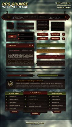 MMO RPG Grunge Web Interface