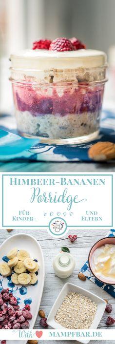 Leckeres Himbeere-Bananen Porridge für die ganze Familie und viele weitere Frühstücksideen für Kinder findet ihr bei uns auf mampfbar.de