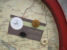 Magnetic Map Board, Upcycled Tray, Burgundy Red, Montana, Wyoming, South Dakota, button magnets, office, organization