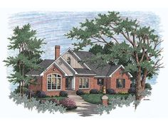 Eplans House Plan: Gables, columns, and multipane windows give this ranch-style home great curb appeal. A columned foyer branches off into the great room, formal dining area, and two family bedrooms. A fireplace warms the gre