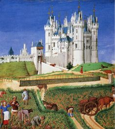Grape harvest in September in Medieval times and Chateau de Saumer