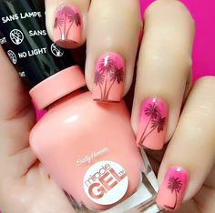 Beach nails, Beautiful nails 2017, Bright gradient nails, Fashionable gradient nails, Nails shellac gradient, Palm tree nail art, Pink and orange nails, Square nails