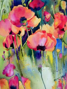 KaySmithBrushworks:  Red Orange Poppy Garden Watercolor of loosely painted poppies spilling out of the garden in a wild array of colors.