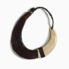 Mauve Leather-and-Horn Necklace, Ghana