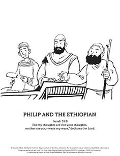 Acts 8 26 39 coloring page coloring pages for Ethiopian eunuch coloring page