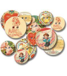Jenni Bowlin Chipboard Buttons 12Pk-Vintage Valentine: Tags: Embellishments: scrapbooking: Shop | Joann.com