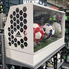 What better way to contain and show-off the Soccer Ball merchandise than an Adidas Ball Soccer Goal Museum Case as means of presentaion? The Sims, Sims 4, Bar Games, Table Games, Soccer Equipment, Training Equipment, Kids Soccer, Soccer Ball, Soccer Store