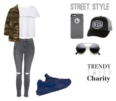 """S T R E E T S T Y L E"" by cccharity on Polyvore featuring mode, NIKE, Topshop, MANGO, Yves Saint Laurent, OtterBox, Deus ex Machina, women's clothing, women en female"