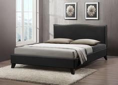 Baxton Studio CF8276-QUEEN-BLACK Battersby Black Modern Bed with Upholstered Headboard - Queen Size