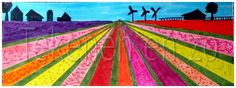 Dutch flower bulb fields You need: drawing sheet from 20 by 10 cm black marker Group Art Projects, Spring Art Projects, Drawing Projects, Artists For Kids, Art For Kids, Kid Art, Classe D'art, Drawing Sheet, 4th Grade Art