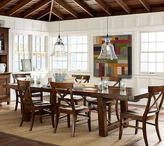 """Benchwright Extending Dining Table - Rustic Mahogany stain #potterybarn; 86"""" long x 42"""" wide x 30"""" high (unextended); seats up to 8 122"""" long x 42"""" wide x 30"""" high (extended); seats up to 12; $1899"""
