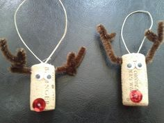 DIY raindeer cork ornaments! For the wine lover in your family! Great kid project